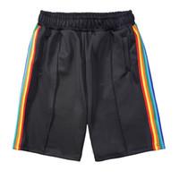 Homens de moda trilha shorts poliéster colorido designer masculino elastificado cintura dois bolso pitada costura carta impressa listras coloridas curtas