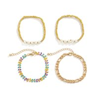 Yamog Women Imitation Pearl Beaded Strands Bracelets Retro Alloy Wheat Model Splicing Hand Chains European Multi Layer Hollow Out Woven Bracelet Accessories Gold