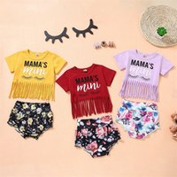 kids Clothing Sets Girls outfits children tassel Letter printing Tops Floral shorts 2pcs set summer fashion Boutique baby Clothes 1605 B3