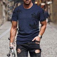 メンズTシャツヤシの木プリントTシャツ夏のフィットネスハワイアン男トップスカジュアルOネックトレーニング男性ストリートウェアカミセタホムブル