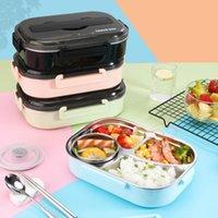 Yemek Takımları 1300 ml Paslanmaz Çelik 304 Öğle Yemeği Kutusu Çorba Kase ile Sızdırmaz Bento Set Mikrodalga Yetişkin Öğrenci Konteyner