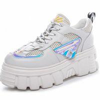 Rasmeup Hakiki Deri 2020 Moda Stil Bahar Bayan Platformu Sneakers Kadın Tıknaz Ayakkabı Eğitmenler Lady Artı Boyutları Ayakkabı K3MQ #