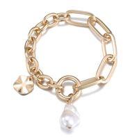 Натуральный пресноводный жемчужный браслет женщина старший дизайн смысла простые большие цепи золотые браслеты для женщин роскошный подарок ювелирных изделий 2021