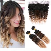 # 1b 4 27 Radici scure Brown to Honey Blonde Ombre Onda Deep Deep Wave Capelli umani Malesian 2bundles e frontale 3Tone Ombre Frontal Frontal 13x4