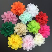 """2"""" mini 12 solid color chiffon fabric rose flower for baby hair accessory shoe Decorate 60pcs/lot"""