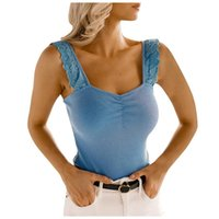 Women's Tanks & Camis Lace Ruffled Sling Tops Solid Color Casual Sexy Low-cut Vest Slim Backless Suspender V-neck Y2K Top Femme