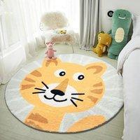 Carpets Soft Carpet Kids Room Cartoon Mat Children Play Round Animal Lion Cat Game Pad Living Baby Crawl Area Rug Floor Decor
