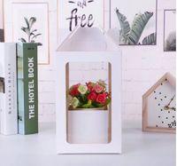 Çiçek Buketi Ambalaj Kutuları Çiçekler Hediye Paketi High-end Şeffaf PVC Pencere El-Taşıma Kraft Kağıt Kutusu