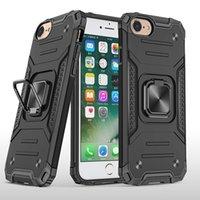 Caixa de suporte do anel de dedo do metal de 360 graus para o iPhone 7 8 SE2 Nível militar do carro à prova de choque do carro Magnetic Phone traseiro do telefone