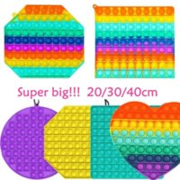 20 30 40CM!!! Super Big Size Push Bubble Fidget Toys Autism Needs Squishy Stress Reliever Rainbow Adult Kid Funny Anti-stress Fidget Party