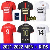2021 120th Stade Rennais футбол для футбола 2022 Camavinga Terrier Mailoots de ohot 21 22 22 Rennes Men Kids Set Bourigeaud Niang Hunou Футболка