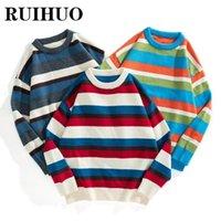 Мужские свитера Ruihuo полосатый модный свитер Мужчины вязаные Урожай Хараджуку Одежда M-3XL 2021 Осенняя зима прибывающих