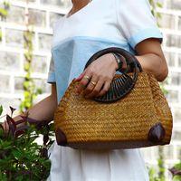 Evening Bags Fashion Women's Hand Bag F Thai Version Of The Straw Retro Vase Vine Travel Beach Bamboo Wood Handle Handbag