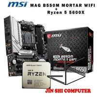 اللوحات الأم AMD RYZEN5 5600X R5 وحدة المعالجة المركزية + MSI ماج B550M هاون واي فاي اللوحة الأم مجموعة وجبة المقبس AM4 / لا مروحة
