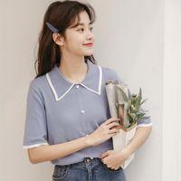 Women's T-Shirt 2021 Japan Style Cute Single-breasted Turn-down Collar Short Sleeve T-shirts Women Summer Small Fresh Slim Knitted Tee Shirt