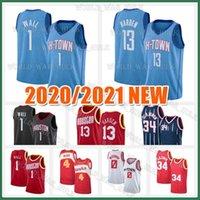 John 1 Wall Jersey 13 Harden Hakeem 34 Olajuwon Russell 0 Westbrook Spud 4 Webb rouge rouge Mens 2020 2021 Basketball Maillots