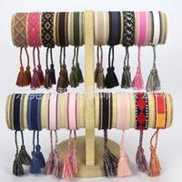 2021 Neueste Baumwoll-Gewebe-Buchstaben-Stickerei-Tassel-Armreif-Lace-up-Armband einstellbares Festival-Armbändern geflochtene Handseil-Paar-Geschenke 43 U2