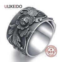JH Ulikeido Real 999 Anéis de Prata Esterlina para Mulheres Homem Amante Festa Vintage Flower Thai Prata Jóias Unisex Presente Grande Tamanho Amplo CJ19112