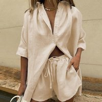 Women's Tracksuits Casual Yellow Lounge Womem Wear Summer Tracksuit Shorts Set Long Sleeve Shirt Tops And Mini Suit 2022 Two Piece