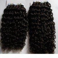 Kinky Curly Tape Brésilien Coiffure 100g Remy Ruban dans des extensions de cheveux humains 80pcs Tape de trame de peau dans les extensions de cheveux humains Livraison gratuite