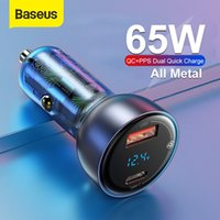 BASEUS 65W PPS 자동차 충전기 USB 유형 C 듀얼 포트 PD QC 빠른 충전 노트북을위한 반투명 자동차 전화 충전기 삼성