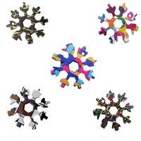 Snowflake Multi Tool 18 в 1 Снежинка гаечный ключ Мультитационные открылки для бутылок Мульти Клавиша Кольцо велосипеда Инструмент Новогодняя Снежинка FWB9406