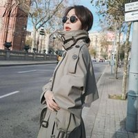 Women's Trench Coats Street Fashion Double Breasted Windbreaker Women Office Lady Classic Plus Size Waistband Jackets Middle Length Slim