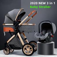 Strollers Luxury Baby Stroller 3 In 1 High Landscape Cart Can Sit Lie Pushchair Cradel Infant Carrier