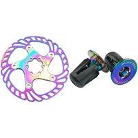 Bisiklet gidon bileşenleri Mi.xim 1 adet Gökkuşağı Disk Fren Rotor 180mm 1 Çift Bar Sonu Fişler Bisiklet Gidon Kapaklar