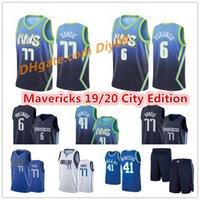 Mens Cheap Dirk 41 Nowitzki DallaMavericksLuka 77 Doncic Jersey Kristaps 6 Porzingis Şehir Mavi Edition Dikişli Basketbol Formaları