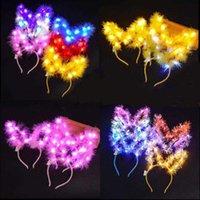 Christmas Toy Women Gifts LED Feather Rabbit Ears Hair Hoop Lights Bunny Ear Headband Headwear Glowing Toys For Party Halloween Xmas