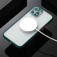 Sıcak Satış Magsaafe Kablosuz Şarj Telefon Kılıfı Için iphone 12 Mini 11pro X XS Max XR 8 7 Artı Buzlu Darbeye Dayanıklı Metal Lens Koruma