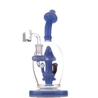 Mushroom Style Glass Bong hookahs Purple Green Color Smoking Pipes 8.5 Inchs Tall Recycler Dab Rigs Bongs