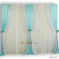 Party Decoration 10ftX20ft Luxury Sequin Edge Wedding Backdrop White Curtain With Swags Stage Birthday Wall Decoratons Props