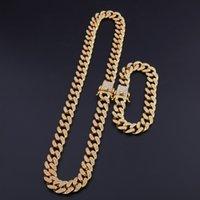 13 мм Miami Cuban Link Change Gold Серебряное Ожерелье Браслет Набор Crystal Rhinestone Bling Hip Hop для мужчин