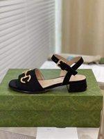 100% кожаный грубый каблук женщина обувь мода металлическая пряжка сексуальные сандалии мягкий скот женские пляж большой размер 34-40 мкч0001