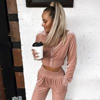Women's Two Piece Pants 2021 Women Summer Velvet Casual Zipper Fashion Tracksuit Long Sleeve Sweatshirt Top +Pants Streetwear Suit Sets Outf