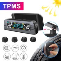 TPMS Solar Power Car Tire Pressure Alarm Monitor Auto Security System Tyre Temperature Warning 360 Adjustable