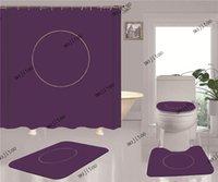 3D 인쇄 화장실 샤워 커튼 세트 패션 간단한 홈 목욕 화장실 커버 4 조각 세트 미끄럼 방지 욕실 액세서리