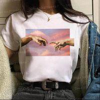 Vogue Vaporwave Michelangelo Hands t shirt women funny Aesthetic David T Shirt Harajuku The creation of Adam Graphic korean Tops