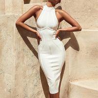 Seamyla Sexy Mulheres White Tank Bandage Dress New Arrivals Midi Bodycon Casual Sem Mangas Noite Clube Clube Vestidos De Festa 210312