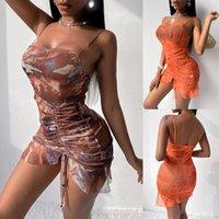 Casual Dresses Sexy Sheer Net Mesh Tunic Beach Cover Up Cover-Ups Long Dress Wear Beachwear Female Women Sling Backless 2021