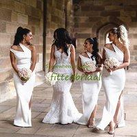 White Double One Shoulder Bridesmaid Dresses Mermaid Long Sexy Side Split Wedding Party Robe De Soiree De Mariage Gown Evening Prom Dress