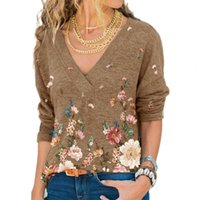 Women's Blouses & Shirts V Neck Floral Print Women Blouse Autumn Winter Long Sleeve Pullover Loose Top