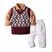 Clothing Sets Kimocat Baby Boy Long-Sleeved Suit, Spring Fashion Shirt Top + Vest Casual Trousers Suit 6 Months-3 Years