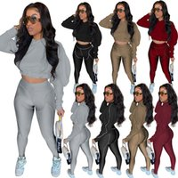 Womens 2 two piece Tracksuits suit Autumn Clothes casual sportswear set solid color puff long sleeve crop top skinny leggings pants sweatsuits plus size clothing