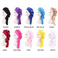 Fashion Silk Hair Cap For Women Sleeping High Stretch Wide-Brimmed Ribbon Round Turban Satin Shower Haircare Bonnet Night Hat