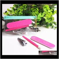 3 pcs Professional Pedicure Set Manicure Nail Art Tools Arquivos Emery Board Cutigo Pusher Stick Trimmer Qylifa Hairclippers2011