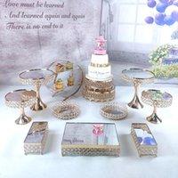 皿12ピースゴールドメタルケーキスタンドセットクリスタルミラーカップケーキトレイホーム装飾デザートテーブル飾りツールパーティーウェディングディス