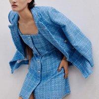 Tweed Women ZXQJ Элегантные Blue Blazers 2021 Мода Дамы Винтаж Свободные Пиджаки Куртки Повседневная Женская Улица Костюмы Девушки CEO7